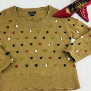 Peck&Peck Women's Sweater w/ MultiColored Pom Poms